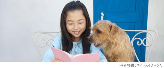 アイキャッチ画像。ノーフォークテリアと読書する女の子。