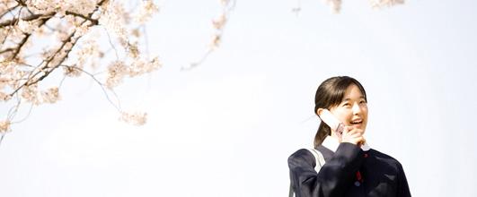 アイキャッチ画像。桜と中学生。