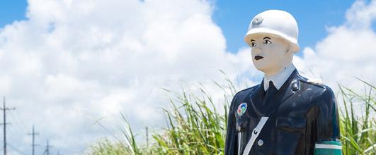 アイキャッチ画像。宮古島の「宮古まもる君」。写真素材サイト PAKUTASO より。